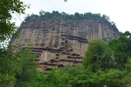 Maijishan Cave-Temple Complex in Tianshui city, Gansu Province China. A mountain with religious caves on the Silk Road