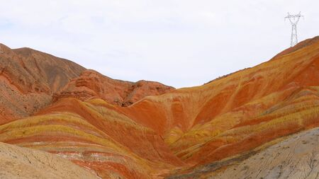 Beautiful nature landscape view of Zhangyei Danxia Landform in Gansu China. Imagens