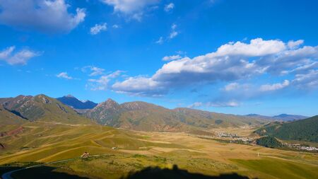 Beautiful nature landscape view of The Qilian Mountain Scenic Area in Qinghai China. 版權商用圖片