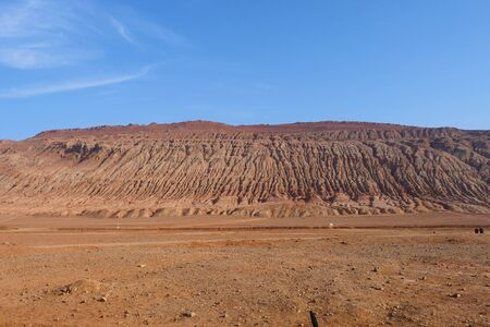 Nature landscape view of the Flaming Mountain in Turpan Xinjiang Province China.