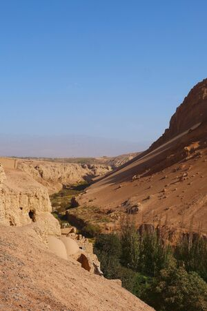 Nature  view of the Flaming Mountain Valley in Turpan Xinjiang Province China. 写真素材
