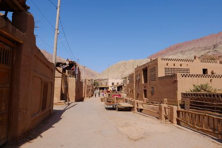 Ancient traditional residential old house in Tuyoq village valley inTurpan Xinjiang Province China.