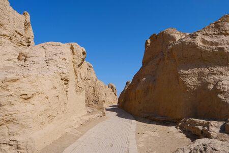 view of the Ruins of Jiaohe Lying in Xinjiang Province China.