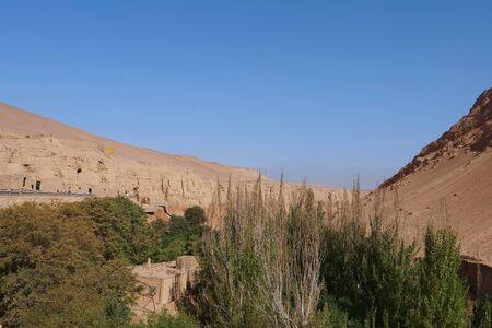 Landscape view of The Bezeklik Thousand Buddha Caves in Turpan Xinjiang Province China.
