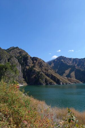 Nature  view Heaven Lake of Celestial Mountains in Xinjiang China.