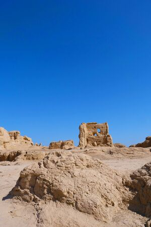Landscape view of the Ruins of Jiaohe Lying in Xinjiang Province China.