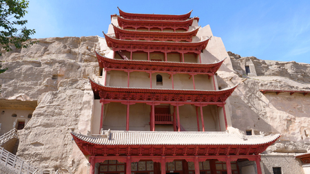 Ancient Buddhism architecture Dunhuang Mogao Grottoes in Gansu China Publikacyjne