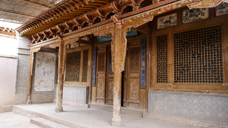 Anceint traditional retro Chinese architecture residential house interior in Gansu China.