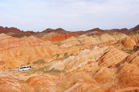 Beautiful nature landscape view of Zhangyei Danxia Landform in Gansu China. Publikacyjne