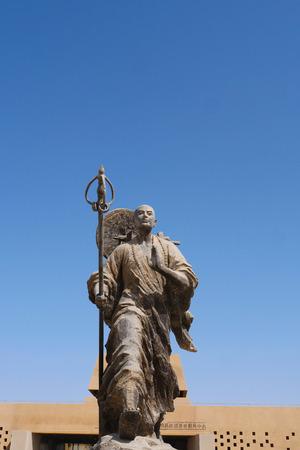 Metal statue of Tang Priest- Tang Sanzang in Ruins of Gaochang, Turpan Xinjiang Province China. Publikacyjne