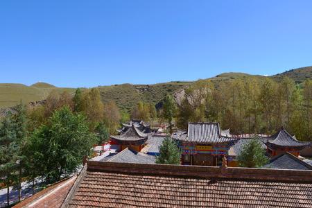 Beautiful landscape view of Thousand Buddha Caves in Mati Temple, Zhangye Gansu China.