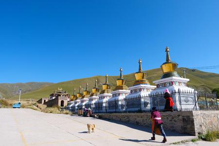 Tibetan Buddhist monastery Arou Da Temple in Qinghai China.
