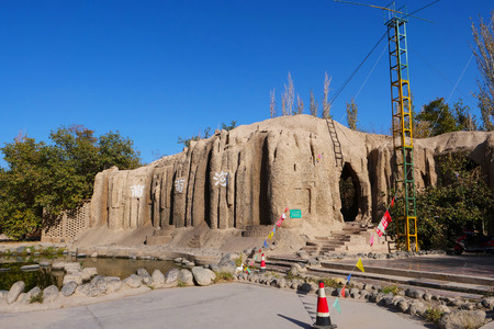 Tourism attraction spot in Turpan Grape Valley, Xinjiang Province China. Chinese translation : Grape Valley