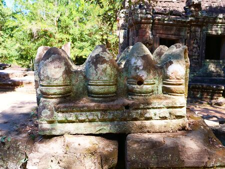 Stone rock ruin at Banteay Kdei, part of the Angkor wat complex in Siem Reap, Cambodia