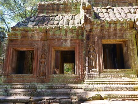 Stone rock temple ruin at Banteay Kdei, part of the Angkor wat complex in Siem Reap, Cambodia