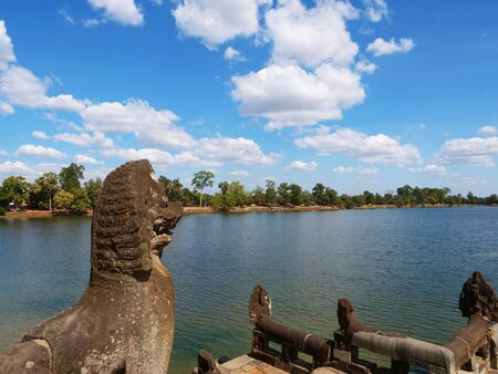 Srah Srang in Angkor Wat complex, reservoir for king iin past , Siem Reap Cambodia.