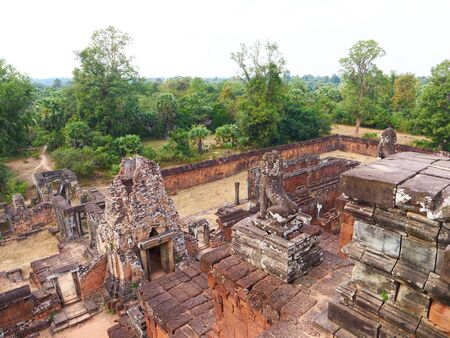 Landscape view at Ancient buddhist khmer temple architecture ruin of Pre Rup in Angkor Wat complex, Siem Reap Cambodia. Stock fotó