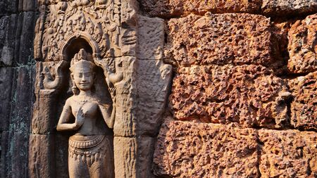 Stone rock carving art at Ta Som temple in Angkor Wat complex, Siem Reap Cambodia.
