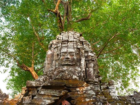 Stone rock architecture ruin at Ta Som temple in Angkor Wat complex, Siem Reap Cambodia.