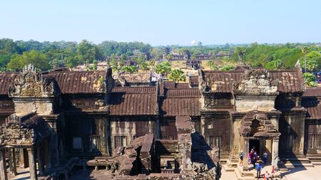 Popular tourist attraction landscape view of ancient temple complex Angkor Wat in Siem Reap, Cambodia Sajtókép