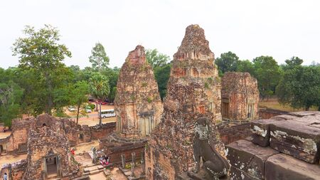 Landscape view at Ancient buddhist khmer temple architecture ruin of Pre Rup in Angkor Wat complex, Siem Reap Cambodia. Sajtókép
