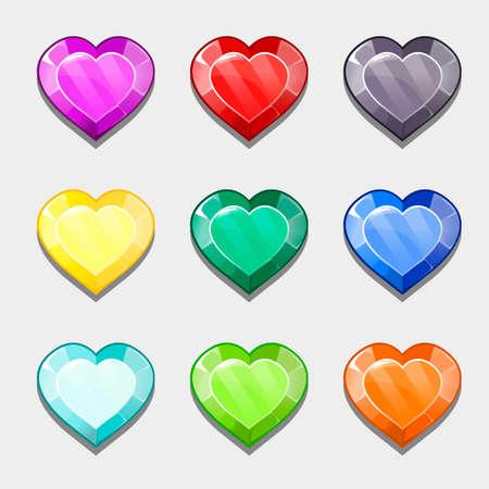 crystalline: varicoloured crystalline hearts Illustration