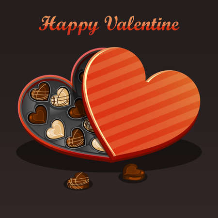 candy box: Valentine-chocolate candy in a box of heart shape