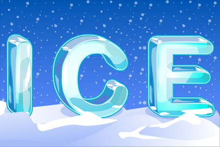 cold storage: uppercase letters ICE on the snow