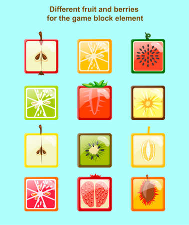 apples and oranges: Different fruit and berries for the game block element