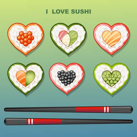 Sushi in the shape of heart