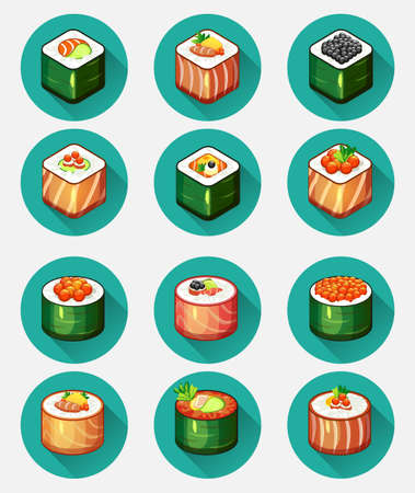 prepared fish: 12 SUSHI icons Illustration