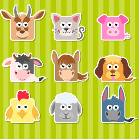game dog: Set of cute cartoon square home animals stickers Illustration