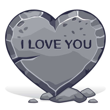love image: Cobble heart-shaped with the inscription i love you Illustration