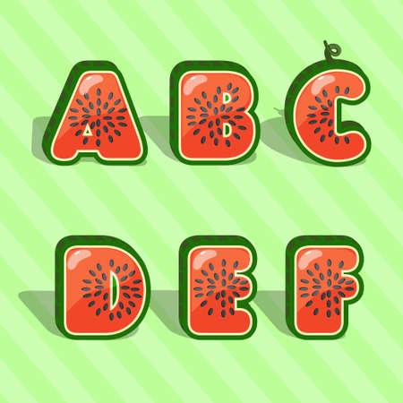 intake: Watermelon font. Cartoon fruit alphabet. Summer design element. kids letters. Part of set