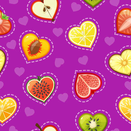 apples and oranges: Seamless pattern with fresh fruit and berries in a cut and shape of the heart