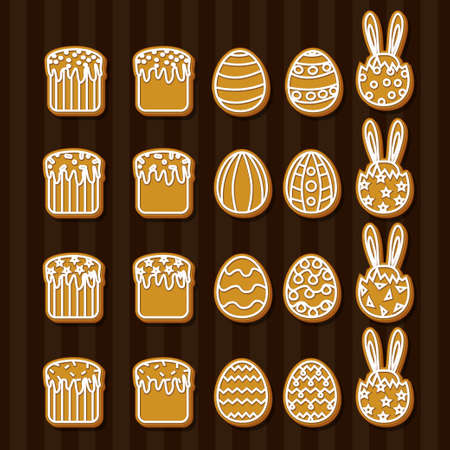 an easter cake: Set Easter cookies icons egg, Easter cake, rabbit