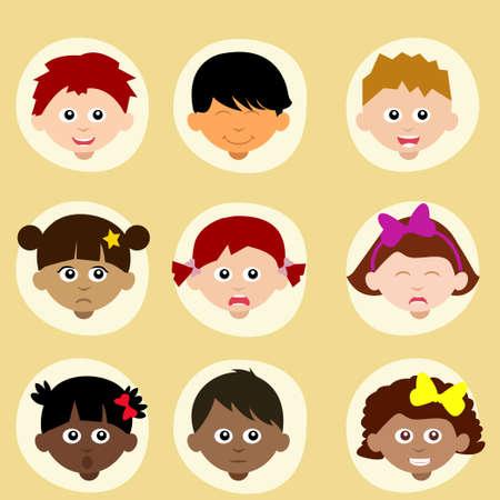 niños de diferentes razas: Conjunto estado de ánimo o la emoción de los niños, los avatares