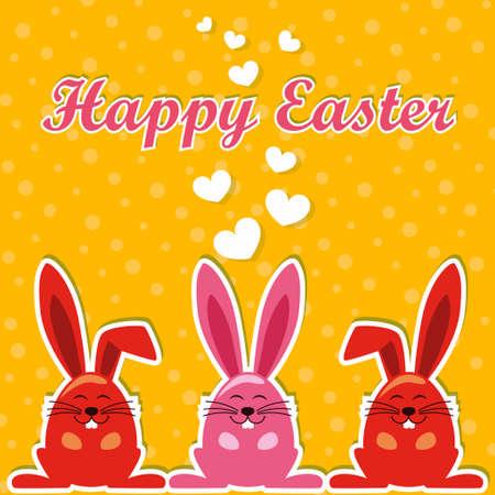 ester: cute rabbit in Ester orange background Illustration