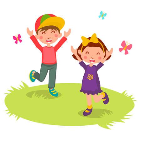 Illustrazione vettoriale di bambini felici fumetto 2, vettore Archivio Fotografico - 53376353