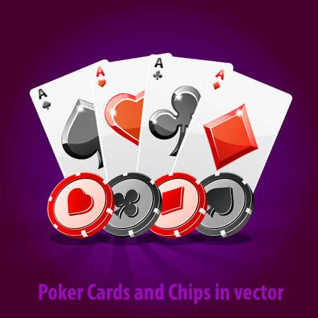 Poker-Karten und Chips im Vektor. Spielelement