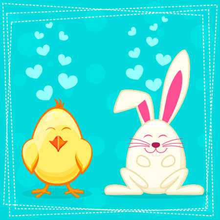 pet breeding: Cute yellow cartoon chicken and rabbit in vector