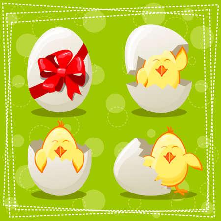 rural areas: Easter eggs chicks Illustration