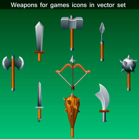 weaponry: weapons for games icons vector set in vector