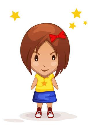 feminity: stylized cute cartoon children girl in vector