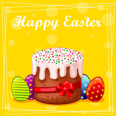 easter cake: card Easter cake and eggs in vector Illustration