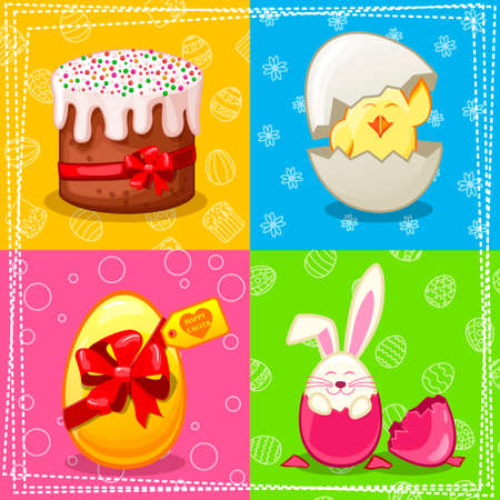 love icon: Happy Easter illustration, eggs, chicken, rabbit, cake in vector Illustration