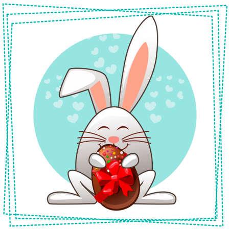 ester: Happy ester rabbit and multicolored eggs in vector