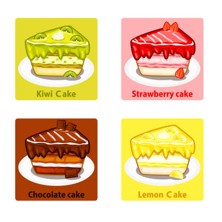 vanilla pudding: icons set with colorful fruit and chocolate sweet cakes, vector elements