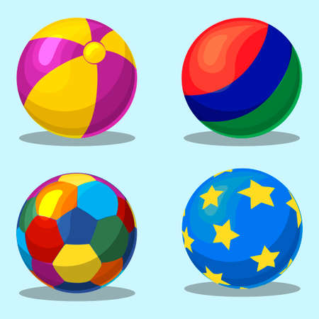 inflating: Colorful childrens inflatable ball in vector Illustration