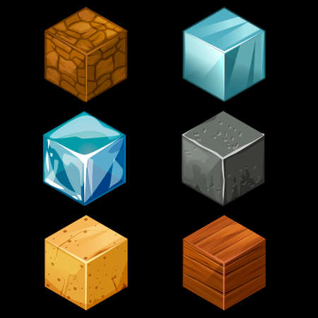 wood block: 3D Game block Isometric Set , Cube for game, element texture, nature brick for computer game illustration